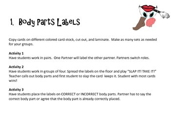 SPANISH BODY PARTS ACTIVITIES