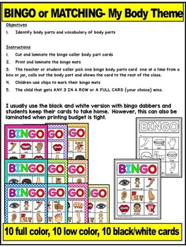 BODY PARTS-BINGO LITERACY CENTER ACTIVITY OR MATCHING MATS