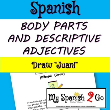 BODY PARTS: Draw the person in the description. Spanish.