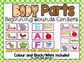 BODY PARTS-BEGINNING SOUNDS Center Activities-  Literacy Centers