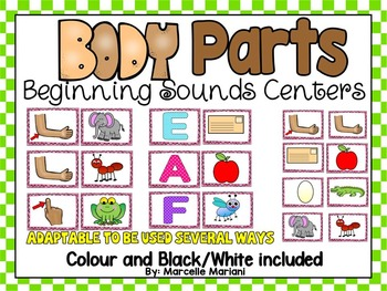 BODY PARTS-BEGINNING SOUNDS Center Activities-  Literacy Centers
