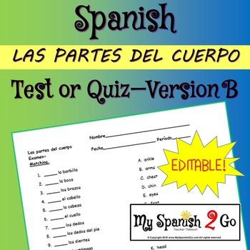 BODY PARTS:  Spanish Matching Test/Quiz B