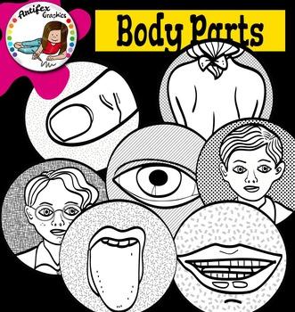 BODY PARTS clip art set - Color and B&W-62 items!