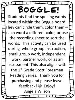 BOGGLE!  1st Grade Scott Foresman Unit 2 Week 2 Long a (CVC)