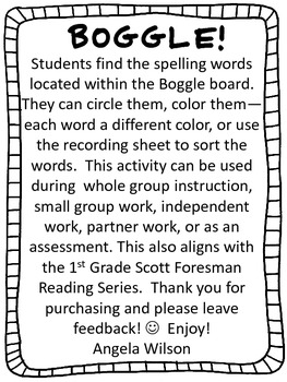 BOGGLE! 1st Grade Scott Foresman Unit 3 Week 3 Adding -es