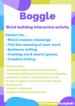 BOGGLE BULLETIN BOARD, WORKSHEETS AND BANNER! 100+ LETTERS / SOUNDS