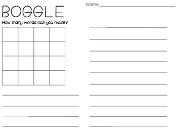 BOGGLE Board with blends, digraphs, and more!