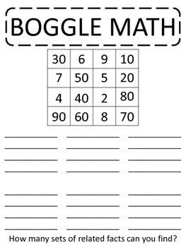 BOGGLE MATH - game, center, multiplication, division, related facts