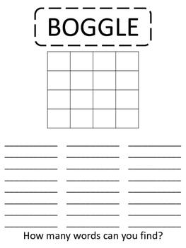 BOGGLE - Reading/Spelling Center - Time Filler