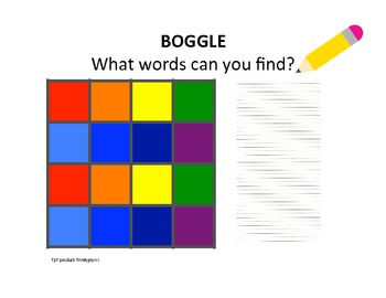 BOGGLE board with alphabet