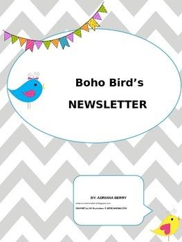 BOHO BIRDS EDITABLE NEWSLETTER