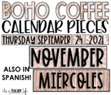 BOHO Coffee Calendar   Classroom Decor