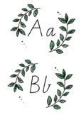 BOHO GREENERY Themed Classroom Decor | Alphabet Posters | Victorian Script