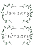 BOHO GREENERY Themed Classroom Decor | Month Posters | Victorian Script