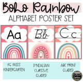 BOHO RAINBOW Alphabet Posters (Print and Cursive)