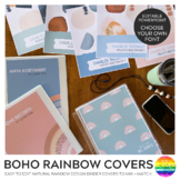 Modern BOHO RAINBOW Binders + Book Covers Pack