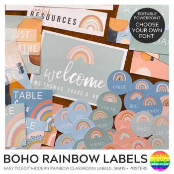 Boho Rainbow Editable Sign Boho Rainbow Unlimited Editable Custom Sign Instant Download Bohemian Chic Sign 8x10
