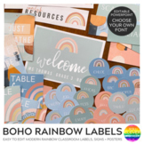 Modern BOHO RAINBOW Classroom Labels + Signs Pack