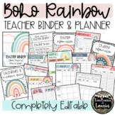 BOHO RAINBOW TEACHER BINDER & PLANNER (EDITABLE)