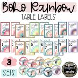 BOHO RAINBOW table labels