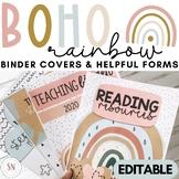 Boho Rainbow Binder Covers, Calendar, & Helpful Forms