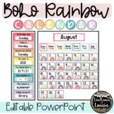 BOHO Rainbow  Calendar Set (with EDITABLE VERSION)