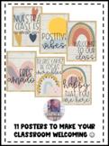 BOHO Shiplap Rainbow Class Decor Motivational Posters (Spanish & English)