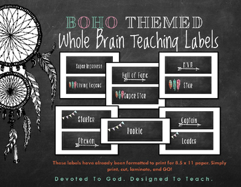 BOHO Themed Whole Brain Teaching Super Improvers Labels