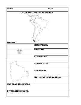 BOLIVIA COUNTRY RESEARCH WORKSHEET