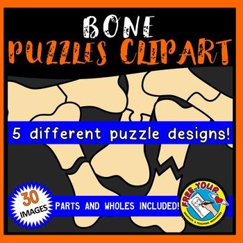 BONE PUZZLES CLIPART: BONE CLIPART PUZZLE TEMPLATES: HALLOWEEN CLIPART