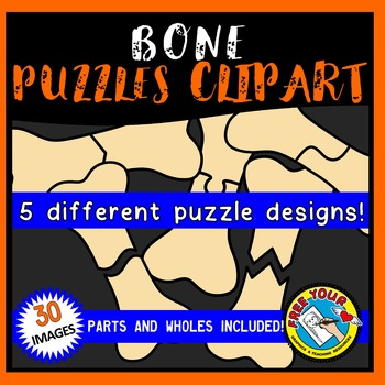 BONE PUZZLES CLIPART: BONE CLIPART PUZZLE TEMPLATES: HALLO