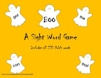 BOO - A Sight Word Game 220 Dolch words
