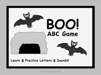 BOO! ABC Game- Learn and Practice Letters and Sounds - Bat Themed Game