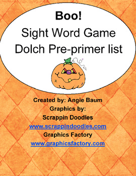 BOO! Dolch Sight Word Game - Pre-Primer List