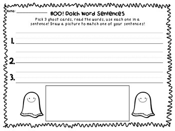 BOO! Grade 1 Halloween Dolch Word Game