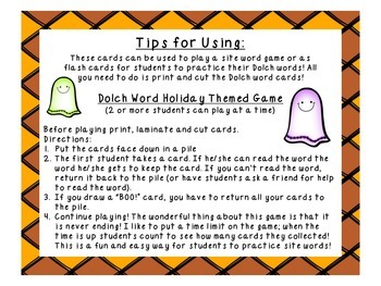 BOO! Grade 3 Halloween Dolch Word Game