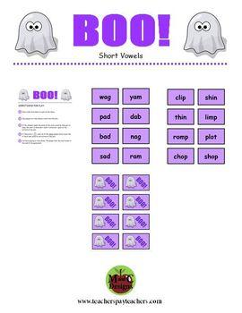 BOO! Halloween Phonics Game Activity Short Vowel