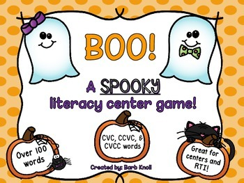 BOO! Literacy Center for sounding out words!