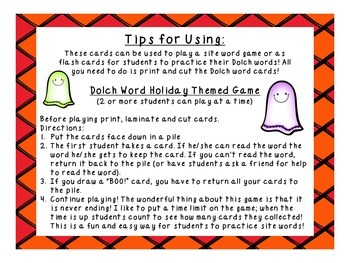 BOO! Pre-Primer Halloween Dolch Word Game