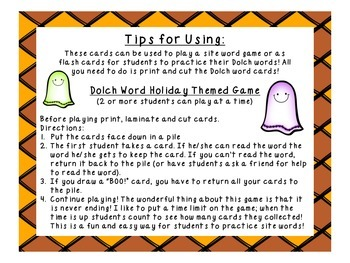BOO! Primer Halloween Dolch Word Game