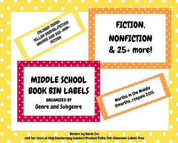 BOOK BIN LABELS FOR A MIDDLE SCHOOL LIBRARY