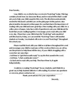BOOK Bag Parent Letter