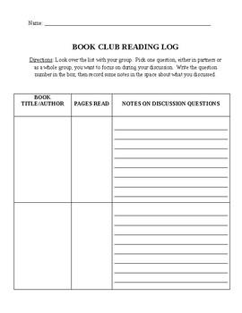 BOOK CLUB READING LOGS