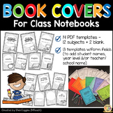 BOOK COVERS for Class Notebooks - 12 subjects + 2 blank templates