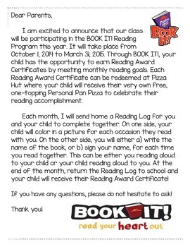 BOOK IT! Reading Program Reading Logs and Parent Letter