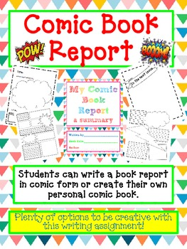 BOOK REPORT- Create a COMIC BOOK - Fun Artistic Creative Challenging