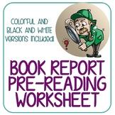 BOOK REPORT PRE-READING WORKSHEET