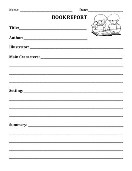 BOOK REPORT TEMPLATE (GRADES 1 and 2)