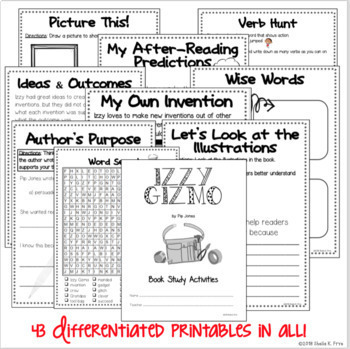 BOOK STUDY - Izzy Gizmo by Pip Jones  - 43 Differentiated Activities/Printables!