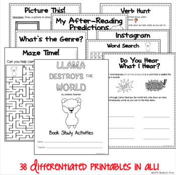 BOOK STUDY - Llama Destroys the World - 38 Differentiated Printables/Activities!